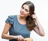 Kobieta włosy styl moda piękny portret — Zdjęcie stockowe