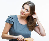 女人的头发样式时尚肖像 — 图库照片