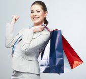 Business woman hold shopping bags — Stock Photo