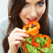 Woman eating green salad — Foto de Stock