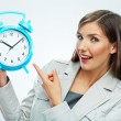 Business woman hold watch — Stock Photo