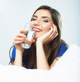 Woman hold water glass — Stock Photo