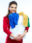 Woman hold shopping bags — Stock Photo