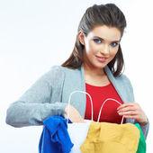 Saco de compra de preensão de mulher — Fotografia Stock
