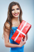 Woman hold gift box — Stock Photo