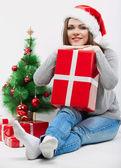 圣诞老人帽子的女人 — 图库照片