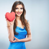 Woman hold red heart — Stock Photo