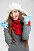 Cap vestindo de mulher — Foto Stock