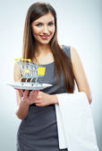 Woman hold plate with cart — Stock Photo