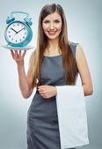 Business woman holding watch. — Stock Photo