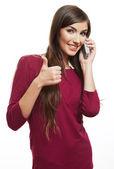 Woman show thumb up — Stock Photo