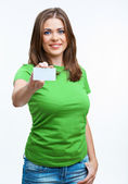 Woman holding blank board — Stock Photo