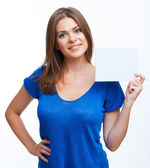 Woman showing blank signboard — Stock Photo