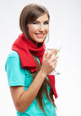 Woman with glass — Stock Photo