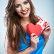 Woman hold red heart — Stock Photo #36580439