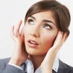 Business woman with headache — Stock Photo