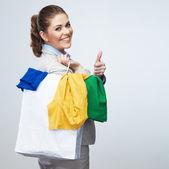 ビジネス女性ホールド ショッピング バッグ — ストック写真