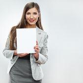 Biznes kobieta z pusty transparent — Zdjęcie stockowe