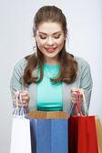 女性ホールド ショッピング バッグ — ストック写真