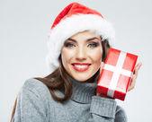 Woman in santa hat — Foto de Stock