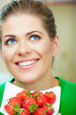 Woman portrait with strawberry — Stock Photo
