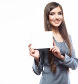 Biznes kobieta trzymać zarządu — Zdjęcie stockowe