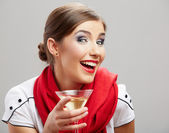 Woman hold wine glass — Stock Photo