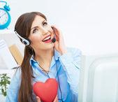 Call center smiling operator — Stock Photo