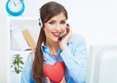 Call center operator with headset — Stock Photo
