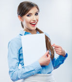 Business woman show banner — Stockfoto