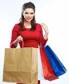 Woman hold shopping bag — Stock Photo