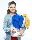 Woman hold bag with clothes — Stock Photo