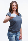 Vrouw weergegeven: leeg bord — Stockfoto