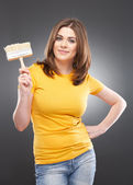 Woman with paint brush — Stock Photo