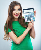 Woman hold calculator — Foto Stock