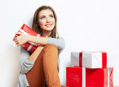 Woman in christmas style with red, white box gift — Foto Stock
