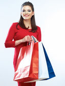 Woman hold shopping bag — Stock Photo