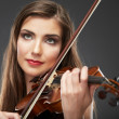 Beauty smiling woman playing violin — Stock Photo