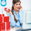 Operator with gift box — Stockfoto #37943083