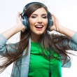 Woman with headphones listening music . — 图库照片