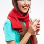 Happy celebrate woman with martini glass — Stock Photo