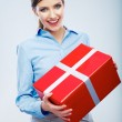 Business woman hold gift box — Stock Photo #37945623