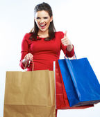 Shopping woman hold bags — Stock Photo