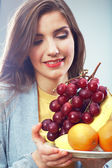 Woman fruit diet concept — Stock Photo