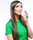 Smiling woman hold water glass. — Stock Photo