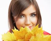 Portrait of young smiling woman, autumn leaves. — Stock Photo
