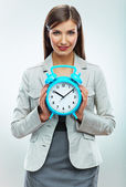 Business woman hold watch. — Stock Photo