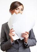 Business woman with blank papers — Stock Photo