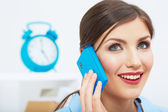 Smiling business woman talking on phone at office. — Stock Photo