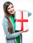 Happy woman hold gift box — Stock Photo